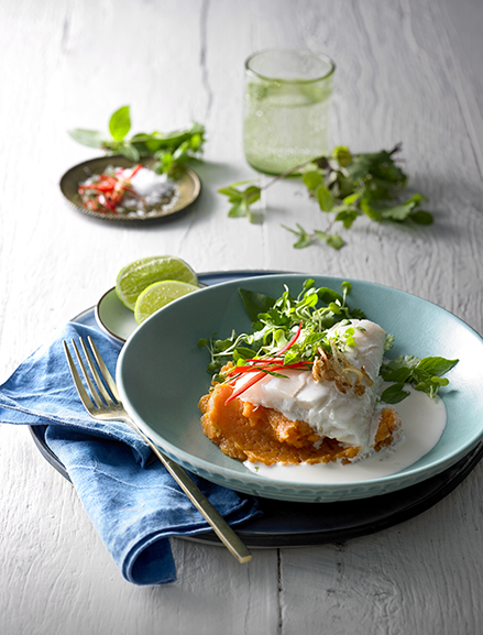 New Zealand Hoki served with a deliciousaromatic Thai inspired coconut & lime sauce& a creamy sweet potato mash infused witha hint of ginger.