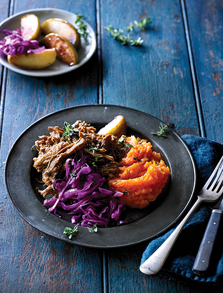 Sweet, succulent & meltingly tender pulled pork slowly braised in our special barbeque sauce served with braised red cabbage, roasted apple & creamy sweet potato mash.