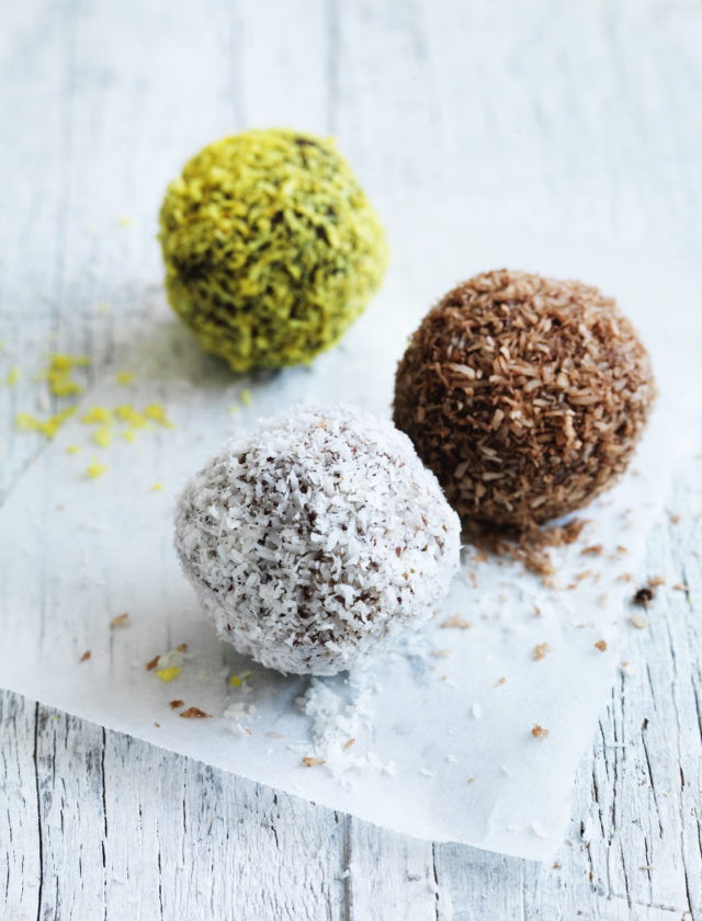 Three delicious all natural snack balls made with nuts, seeds, dried fruit and superfoods. The perfect snack for on the go or as an after dinner treat.